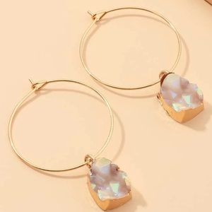 LAST PAIR! Gold hoops w/ iridescent stone details
